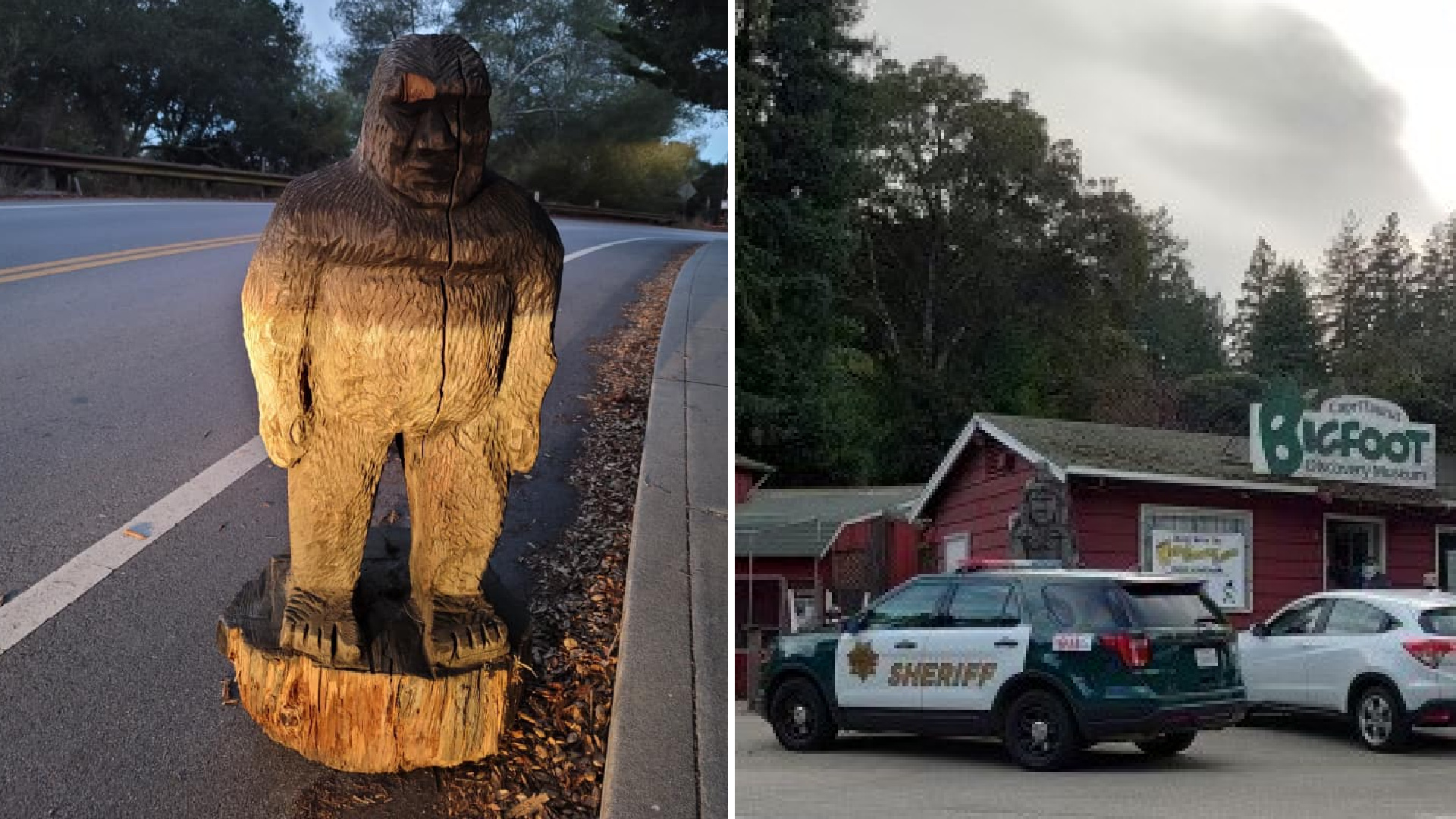 A Bigfoot state found on the side of a road on Nov. 12, 2020 and the Bigfoot Discovery Museum are seen in photos released by the Scotts Valley Police Department and Santa Cruz County Sheriff's Office.