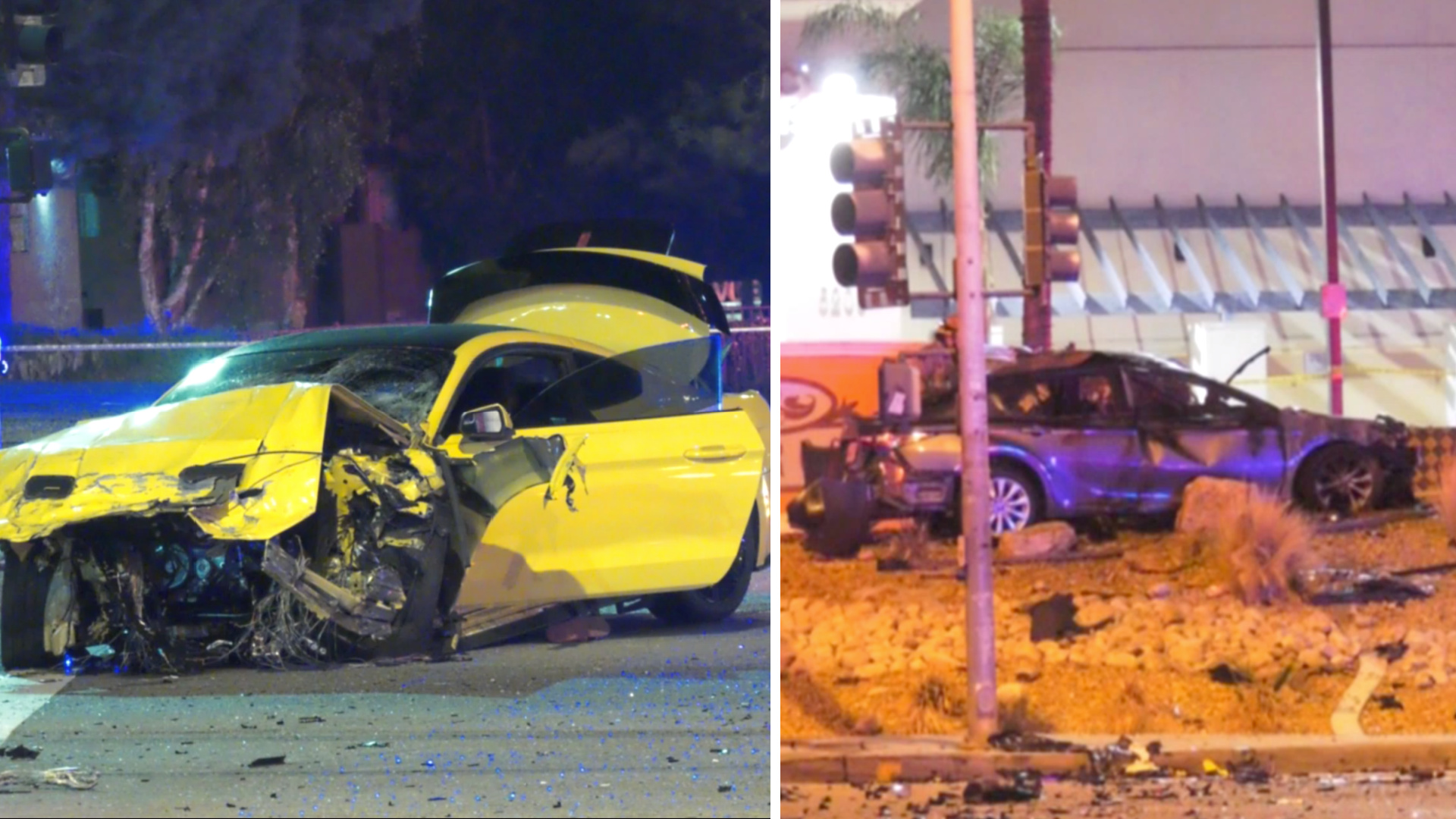A Mustang and Camry seen after a fatal, fiery crash in San Bernardino on Nov. 27, 2020.(Onscene.TV)
