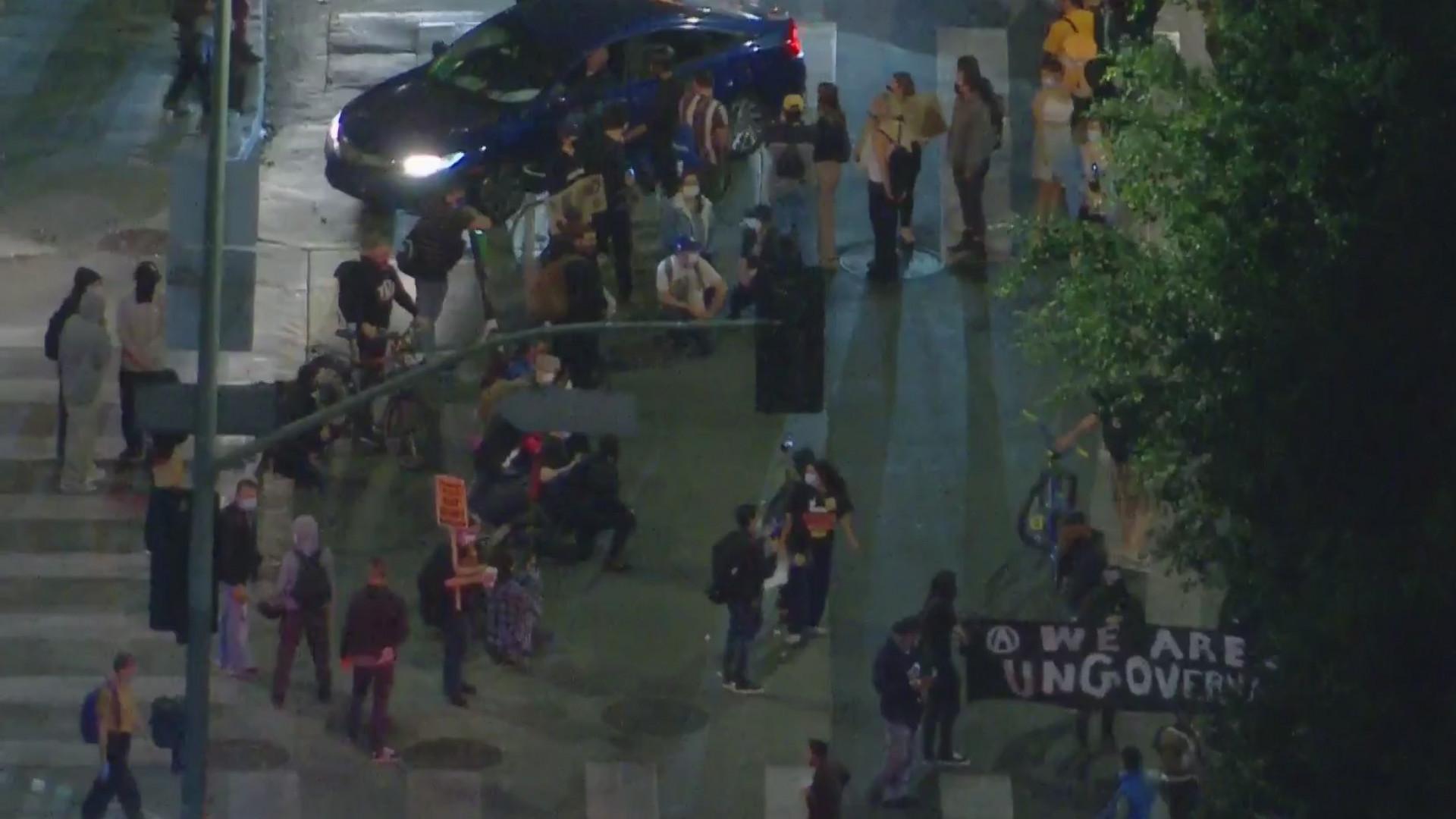 People gather in downtown Los Angeles on Nov. 4, 2020. (KTLA)
