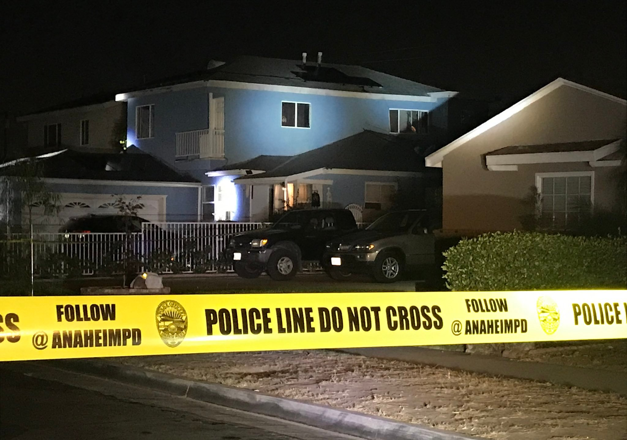 A residential area in Buena Park in cordoned off following an Anaheim police shooting on Nov. 13, 2020, in the photo shared by the Anaheim Police Department.