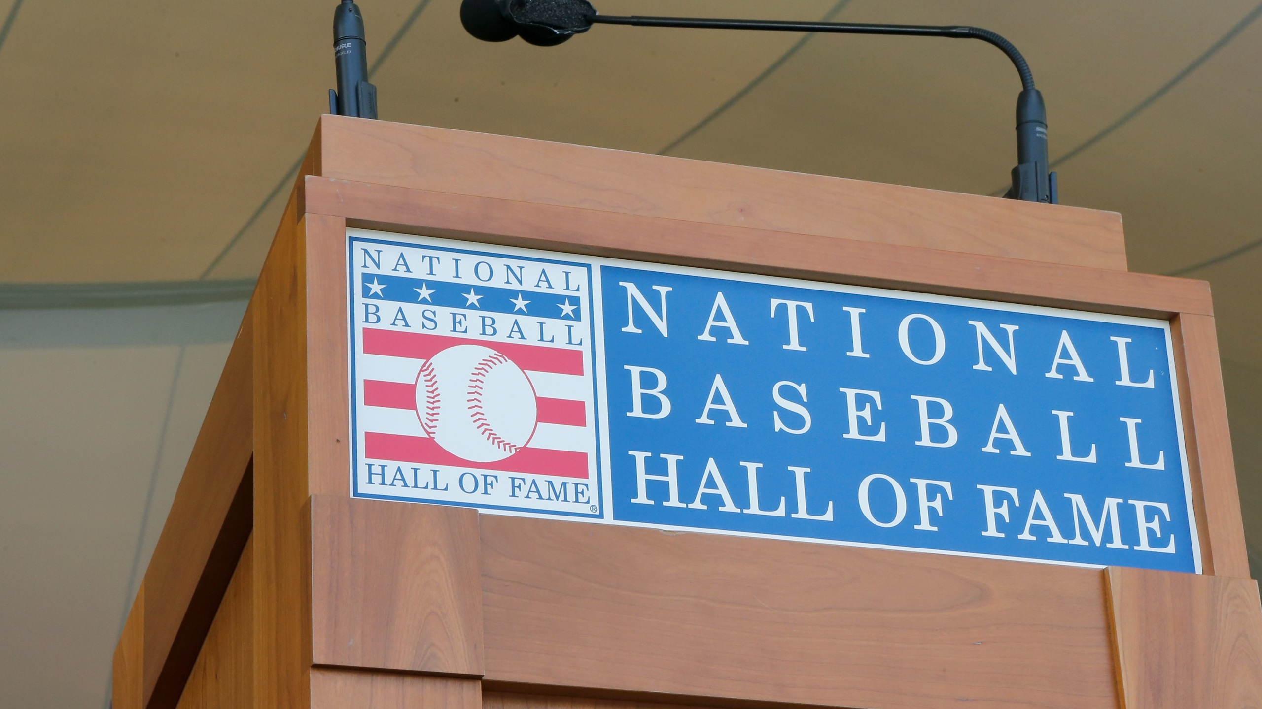 The podium is seen at Clark Sports Center during the Baseball Hall of Fame induction ceremony on July 29, 2018 in Cooperstown, New York. (Jim McIsaac/Getty Images)