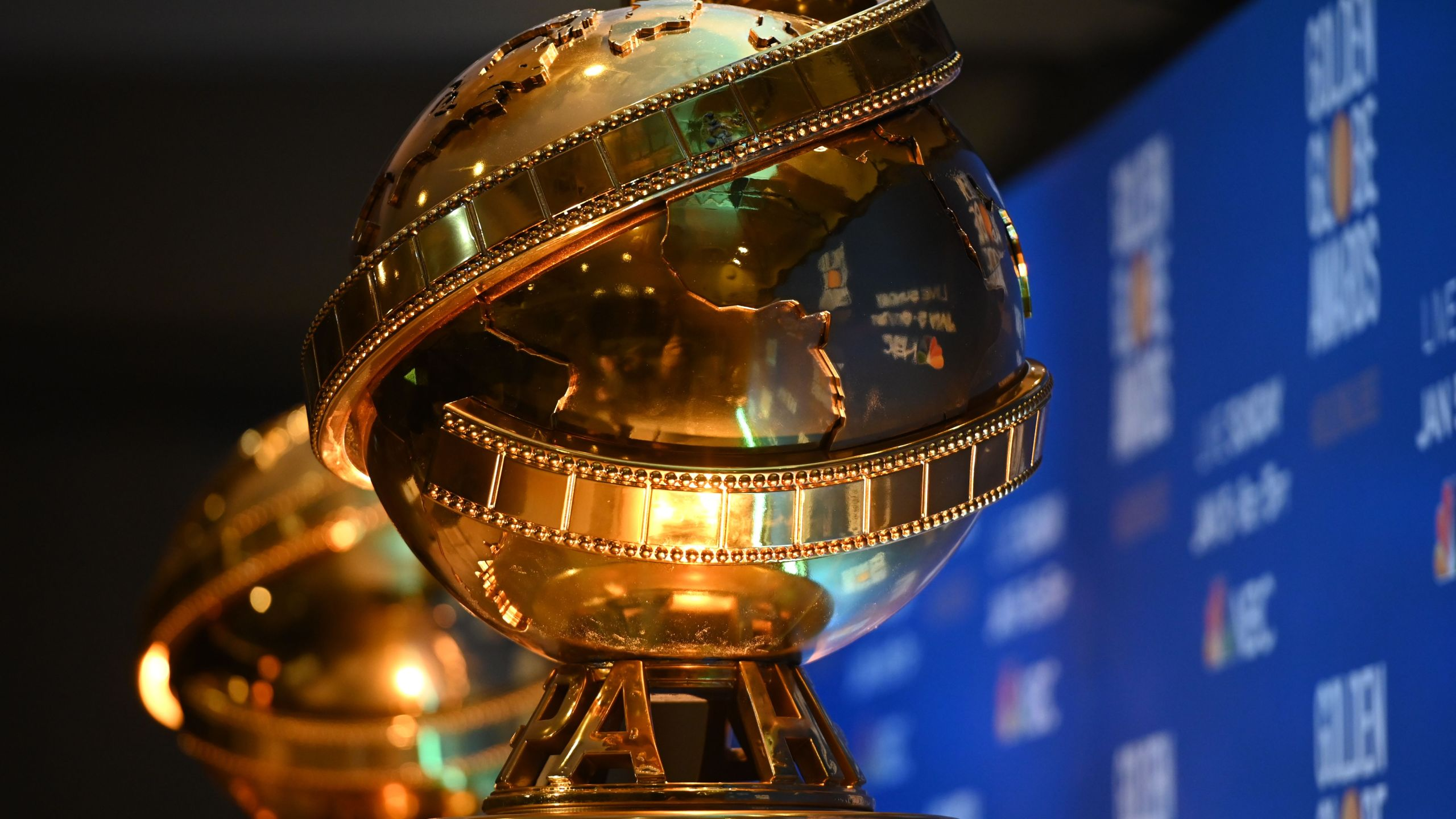Golden Globe trophies are set by the stage ahead of the 77th Annual Golden Globe Awards nominations announcement at the Beverly Hilton hotel in Beverly Hills on Dec. 9, 2019. (Credit: ROBYN BECK/AFP via Getty Images)