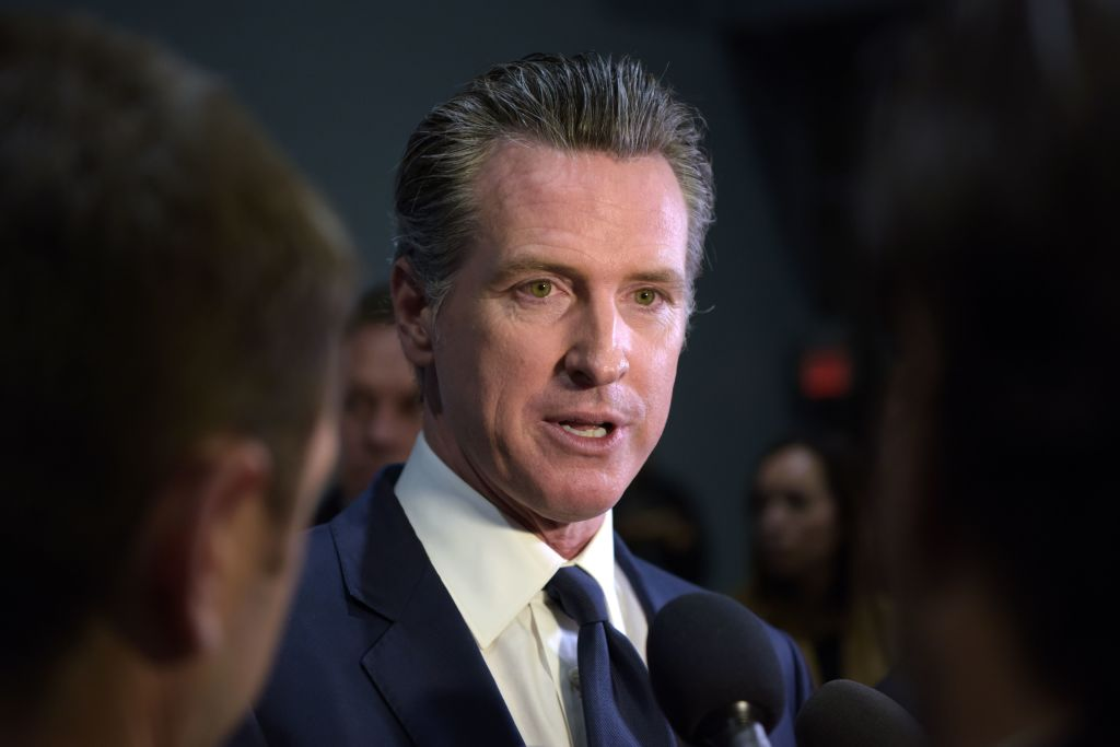 California Gov. Gavin Newsom speaks to the press after the sixth Democratic primary debate of the 2020 presidential campaign season at Loyola Marymount University in Los Angeles on Dec. 19, 2019. (AGUSTIN PAULLIER/AFP via Getty Images)