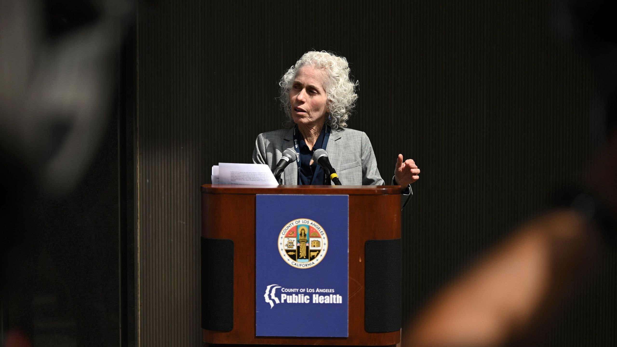Los Angeles County Public Health director Barbara Ferrer speaks at a press conference on the novel COVID-19 (coronavirus), March 6, 2020 in Los Angeles, California. (Robyn Beck/AFP via Getty Images)