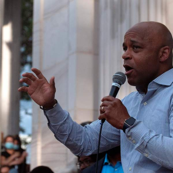Denver Mayor Michael Hancock addresses demonstrators gathered at Civic Center Park in Denver, Colorado on June 3, 2020. (JASON CONNOLLY/AFP via Getty Images)