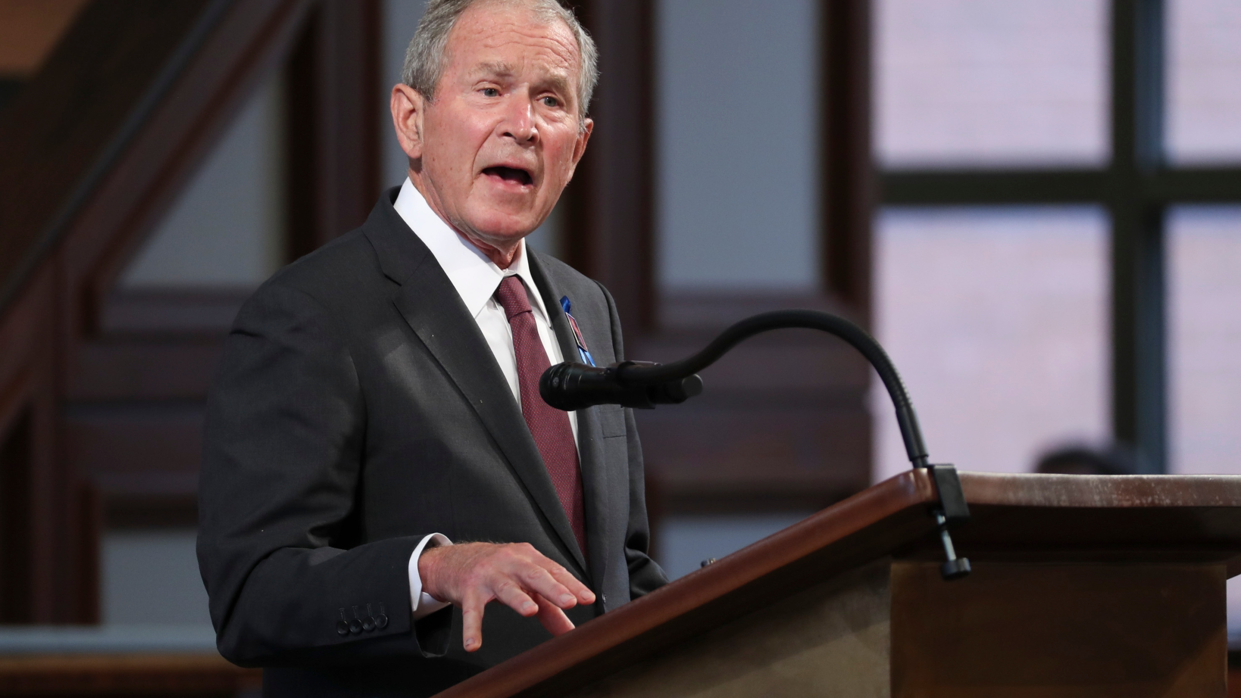 Former U.S. President George W. Bush speaks during the funeral service of late Civil Rights leader John Lewis at the State Capitol in Atlanta, Georgia on July 30, 2020. (ALYSSA POINTER/POOL/AFP via Getty Images)