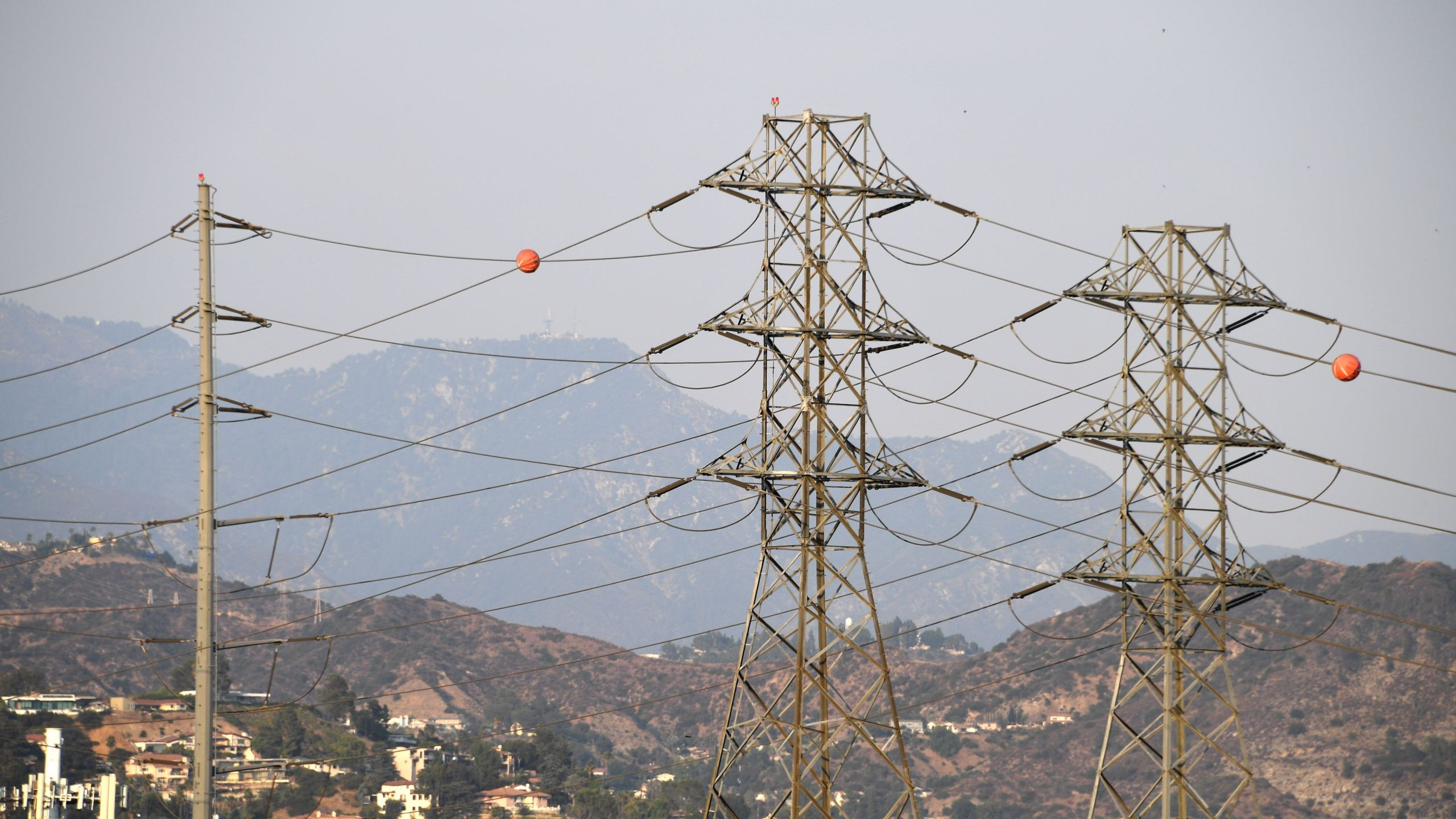 Electrical power line towers are seen in Los Angeles on Aug. 19, 2020. (Robyn Beck/AFP via Getty Images)