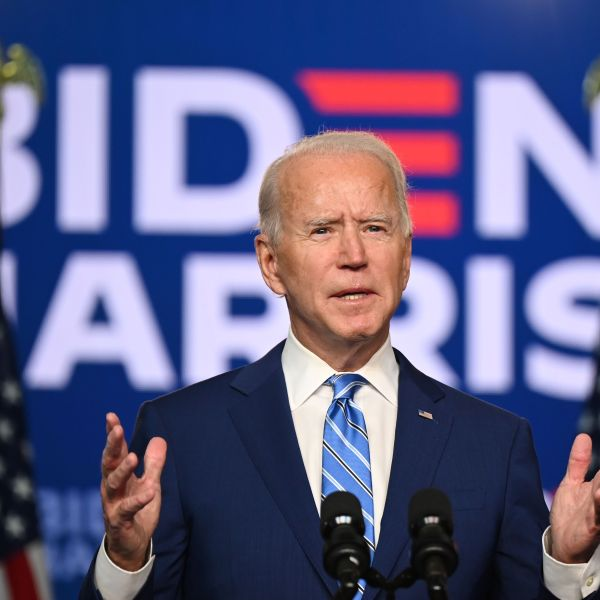 Democratic Presidential candidate Joe Biden speaks at the Chase Center in Wilmington, Delaware, on Nov. 4, 2020. (Jim Watson / AFP / Getty Images)