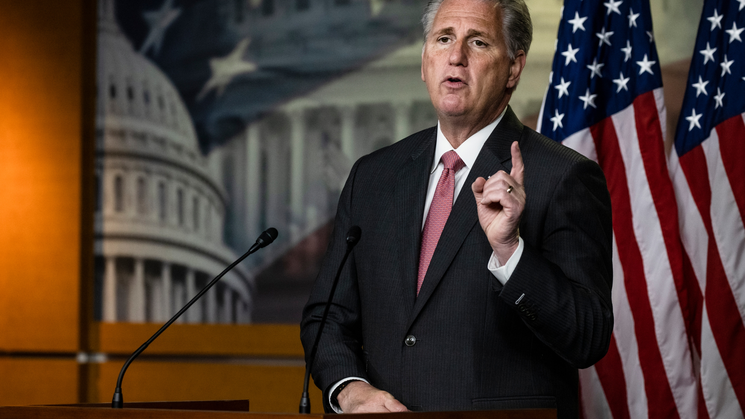 House Minority Leader Kevin McCarthy (R-CA) speaks during a press conference at the U.S. Capitol on Nov. 12, 2020. (Samuel Corum/Getty Images)