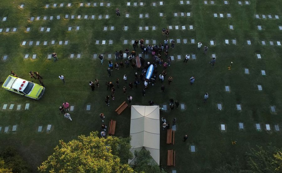 Aerial view of the burial of late Argentine football legend Diego Armando Maradona at the Jardin Bella Vista cemetery, in Buenos Aires province, on Nov. 26, 2020. (Emiliano Lasalvia / AFP / Getty Images)