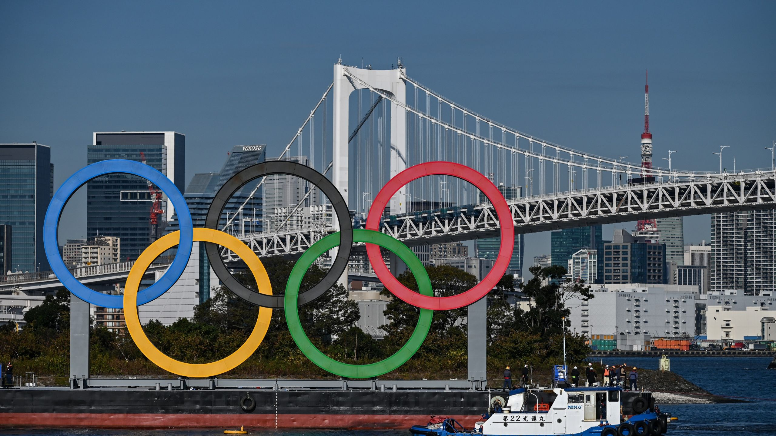 The Olympic rings are reinstalled at the waterfront in Tokyo on Dec. 1, 2020. (CHARLY TRIBALLEAU/AFP via Getty Images)