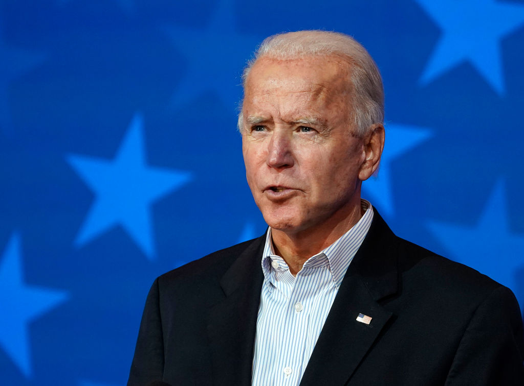 Democratic presidential nominee Joe Biden speaks at The Queen theater in Wilmington, Delaware, on Nov. 5, 2020. (Drew Angerer / Getty Images)