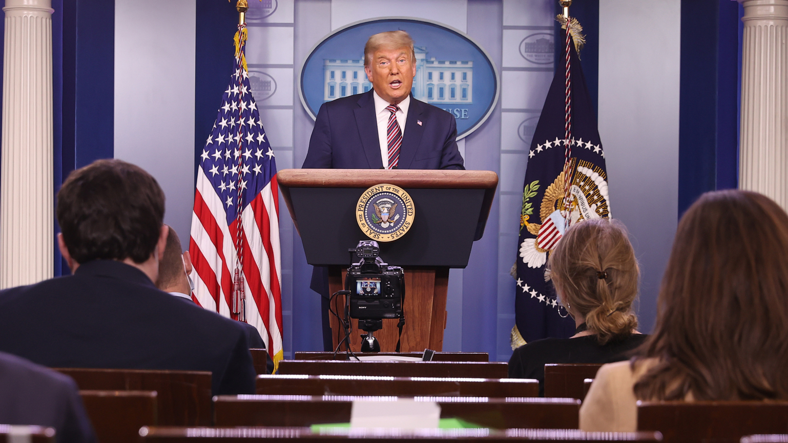 President Donald Trump speaks in the briefing room at the White House on Nov. 5, 2020. (Chip Somodevilla / Getty Images)