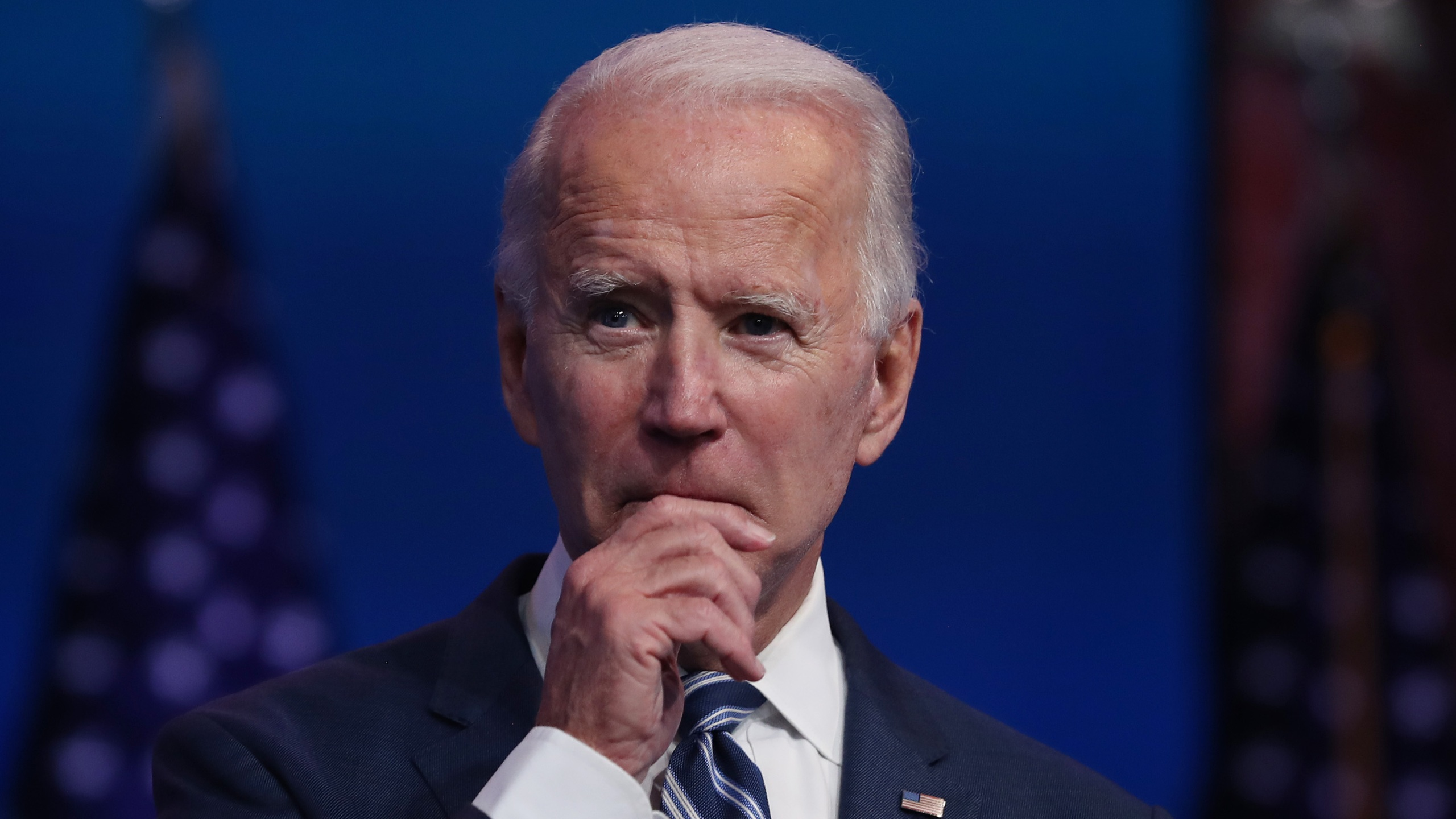 President-elect Joe Biden addresses the media about the Trump administration's lawsuit to overturn the Affordable Care Act on Nov. 10, 2020, at the Queen Theater in Wilmington, Delaware. (Joe Raedle / Getty Images)