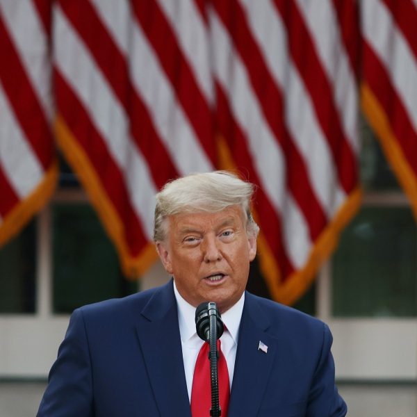 Donald Trump speaks about Operation Warp Speed in the Rose Garden at the White House on Nov. 13, 2020. It was the first time President Trump had spoken since election night. (Tasos Katopodis/Getty Images)