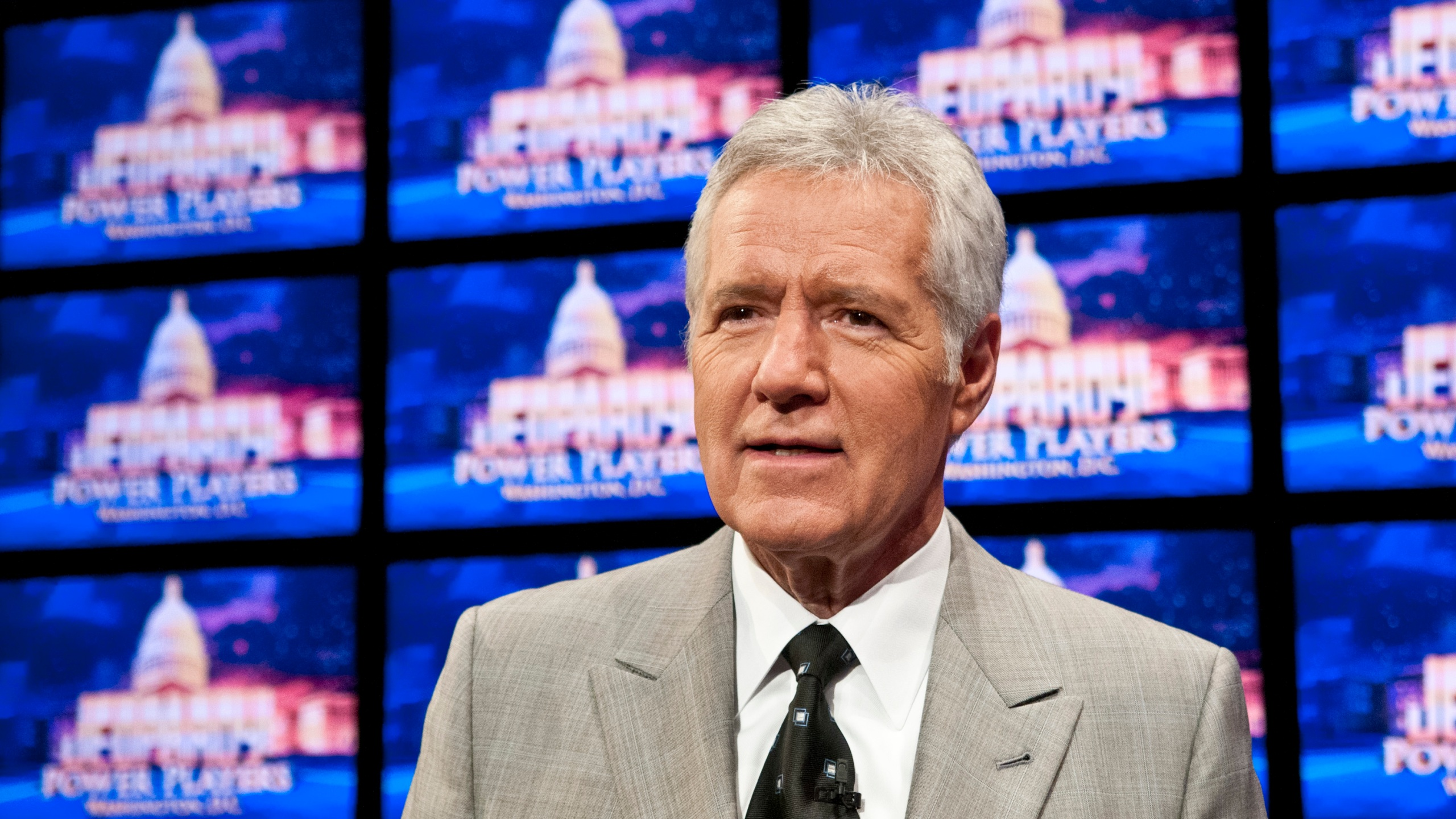 """Alex Trebek speaks during a rehearsal before a taping of """"Jeopardy!"""" at DAR Constitution Hall on April 21, 2012 in Washington, D.C. (Kris Connor/Getty Images)"""