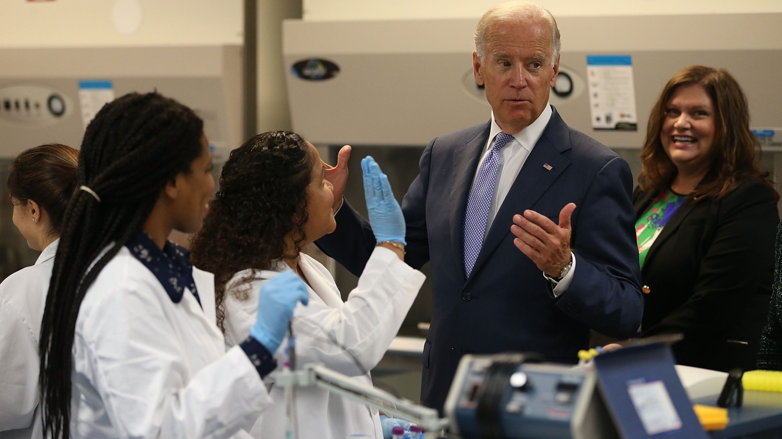 U.S. Vice President Joe Biden vistis a Bio Tech class before making remarks at the Miami Dade College on the importance of helping more Americans go to college September 2, 2015 in Miami, Florida. (Joe Raedle/Getty Images)