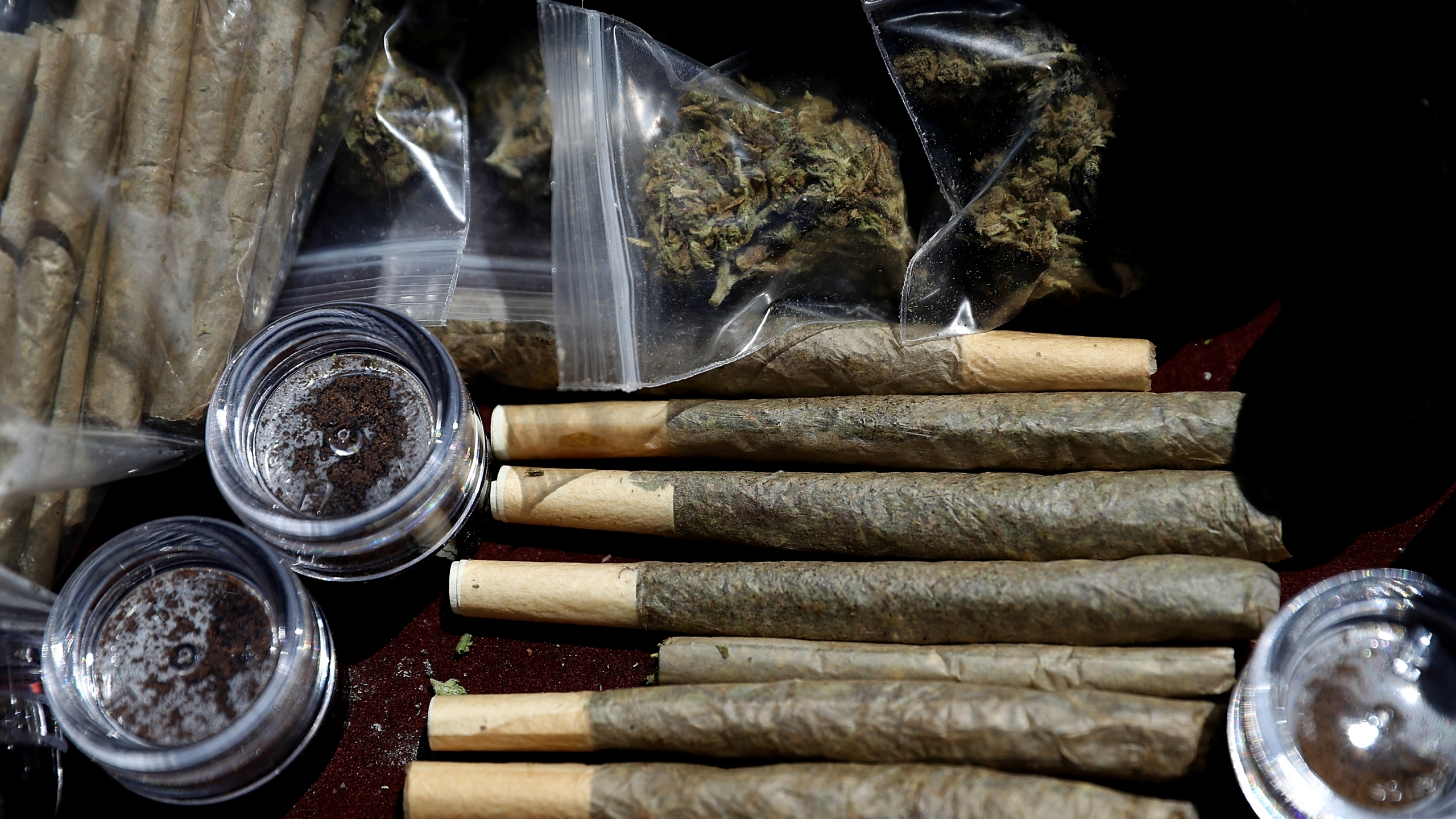 Pre-rolled joints are displayed on April 20, 2018 in San Francisco, California.(Justin Sullivan/Getty Images)