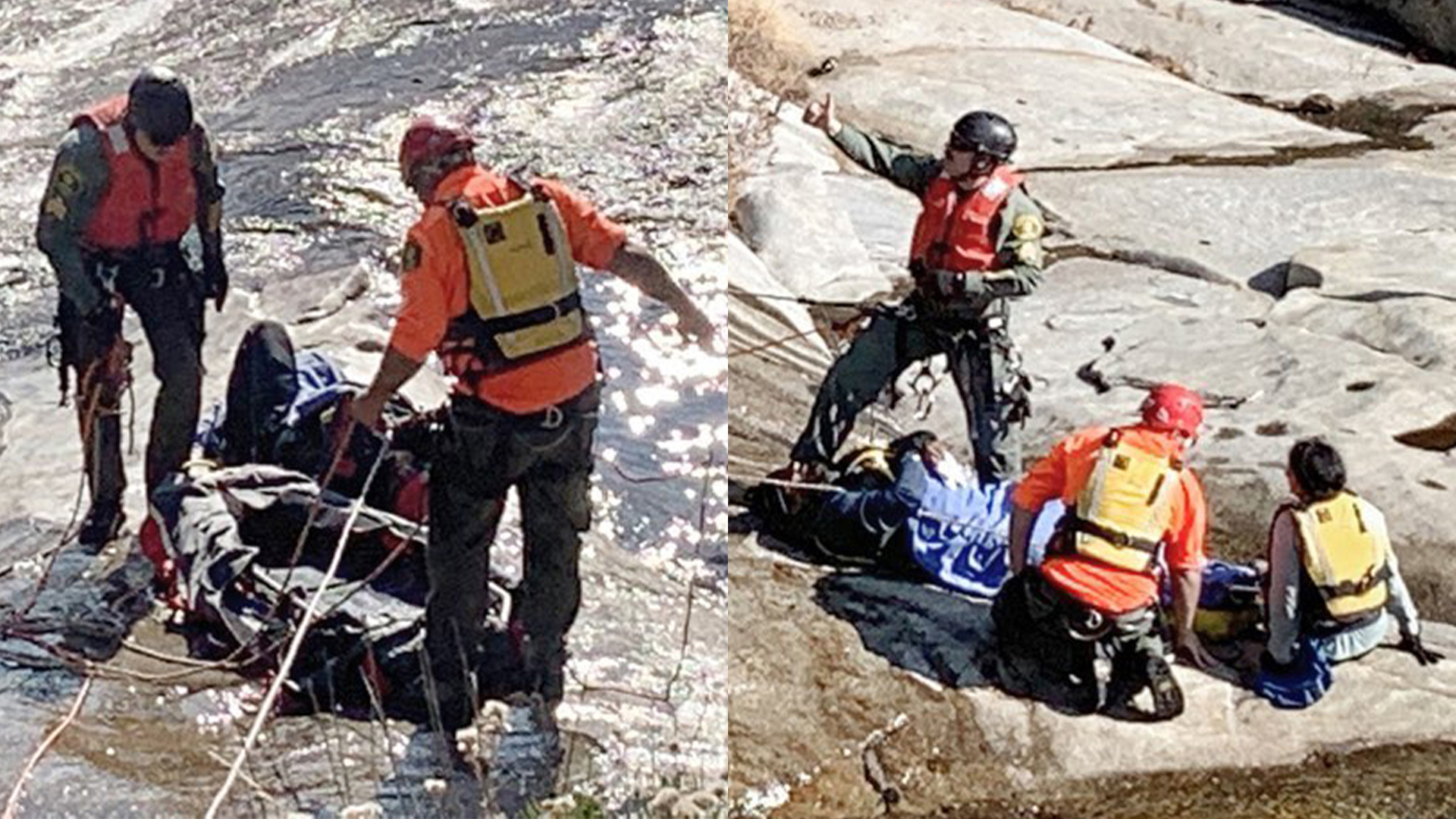 A couple from Rancho Cucamonga was rescued by California Highway Patrol in Madera County after a woman slipped into Willow Creek and her husband jumped in to rescue her. (Madera County Sheriff's Office)