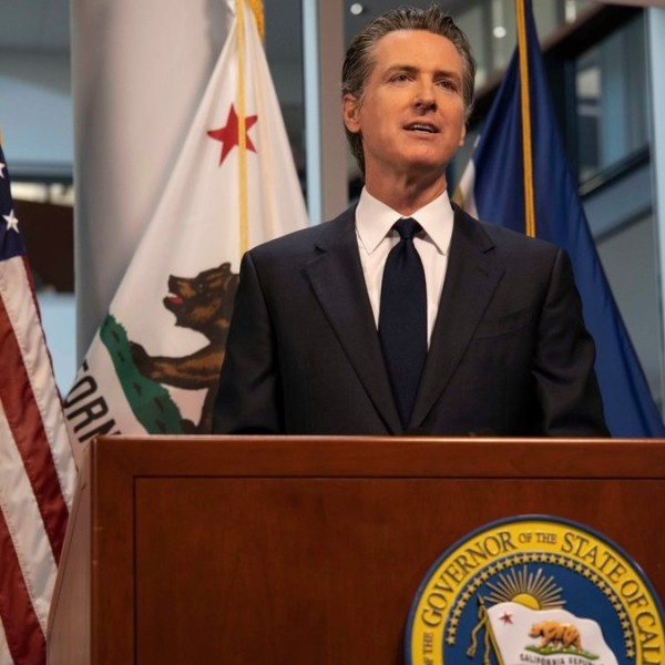 Gov. Gavin Newsom is seen in a photo released by the Office of the Governor of California.