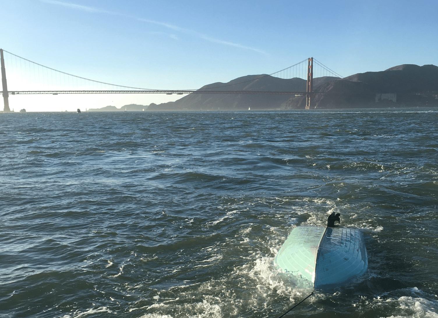 A 12-foot aluminum boat that capsized west of Alcatraz on Nov. 15, 2020. (SFPD/Twitter)