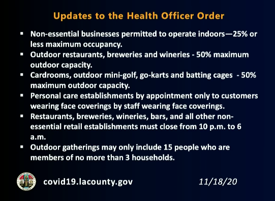 The L.A. County Department of Public Health released this list of updates to its health order effective Nov. 20, 2020.