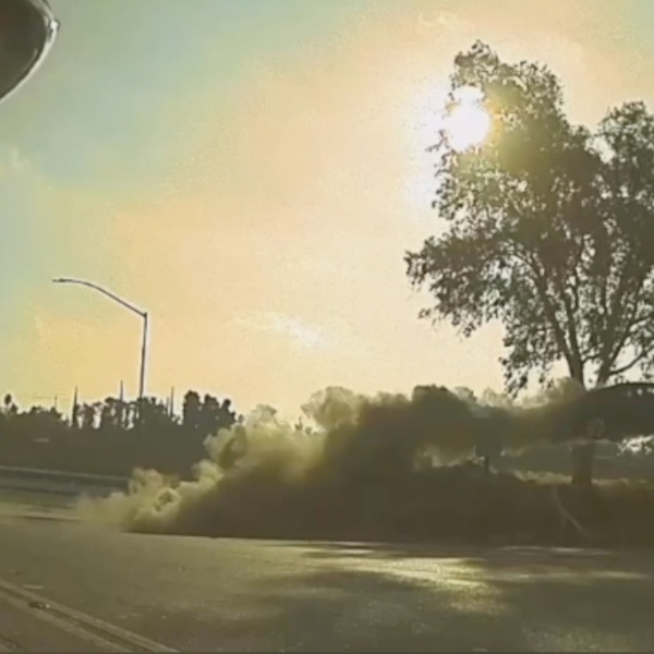 A car went airborne while traveling northbound SR-99 in Modesto on Nov. 14, 2020. (Modesto CHP via Storyful)