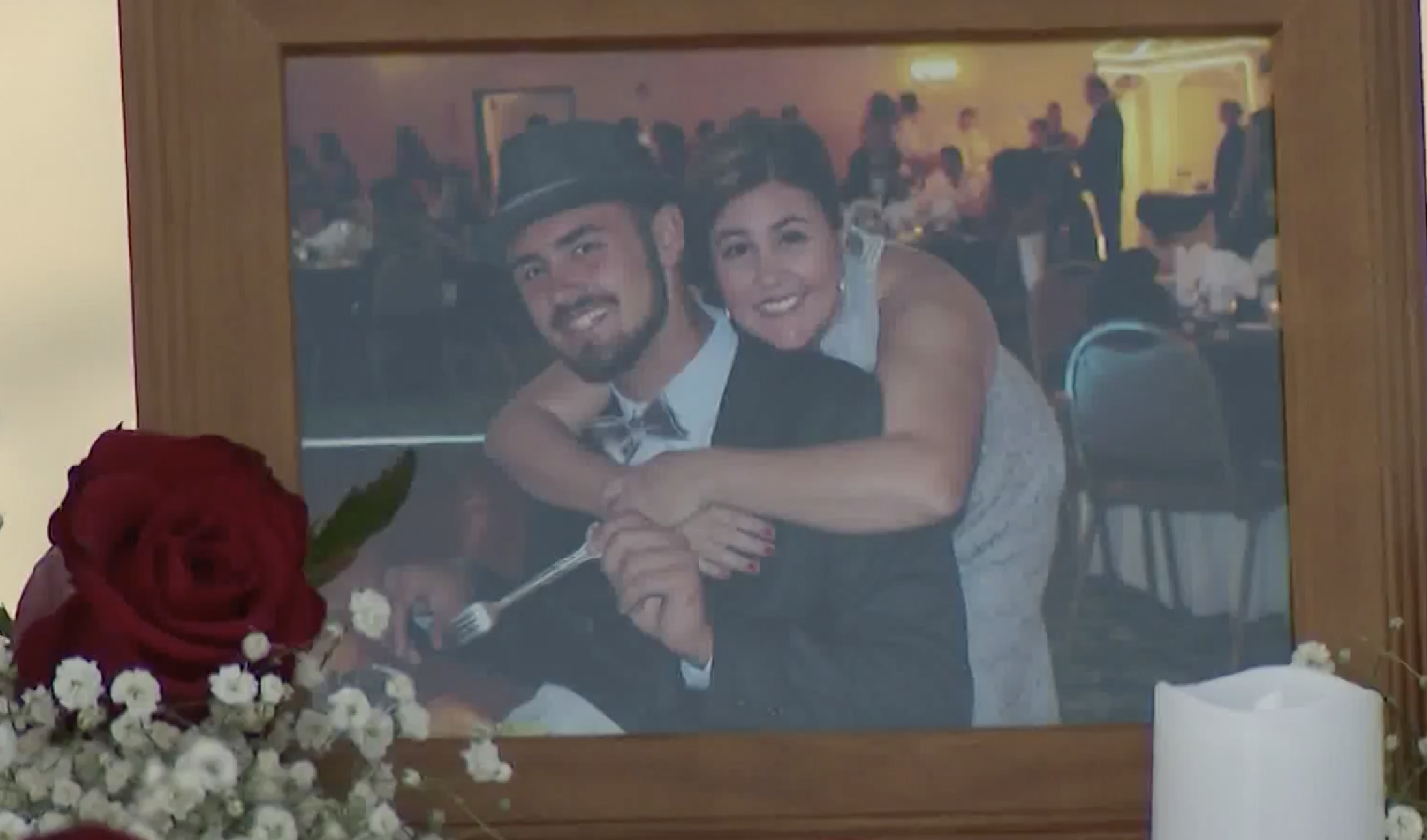 Cody Stewart seen in a photo displayed at his memorial in Huntington Beach on Nov. 21, 2020. (KTLA)