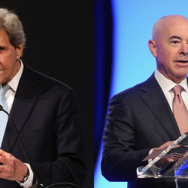 This combination file photo shows John Kerry, left, and Alejandro Mayorkas. (Getty Images)