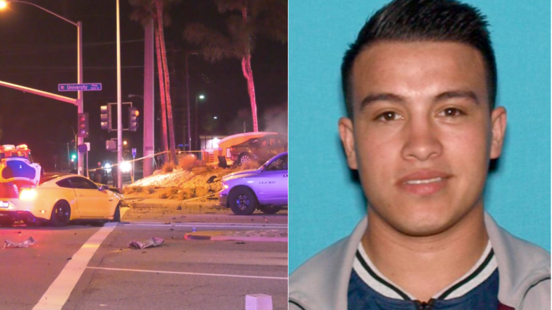 This combination photo shows the aftermath of a deadly crash in San Bernardino on Nov. 27, 2020, and an image of Brandon Alan Jaquez-Perez. (Onscene.tv/San Bernardino Police Department)
