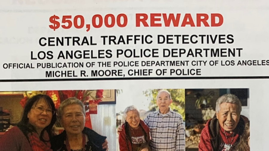 LAPD released this poster showing photos of Kuen Ham and announcing a $50,000 reward for information in the search for the driver who fatally struck her in Westlake on Nov. 23, 2020.