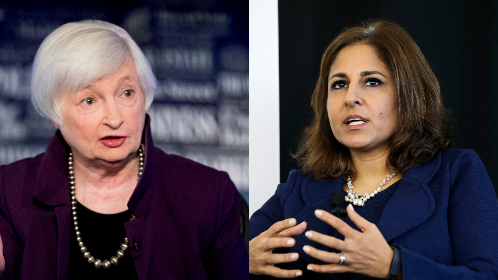 This combination photo shows Janet Yellen, left, appearing on FOX Business Network in Washington in August 2019, and Neera Tanden speaking at New Start New Jersey at NJIT in Newark in November 2014. (AP Photo/Andrew Harnik/Mel Evans)