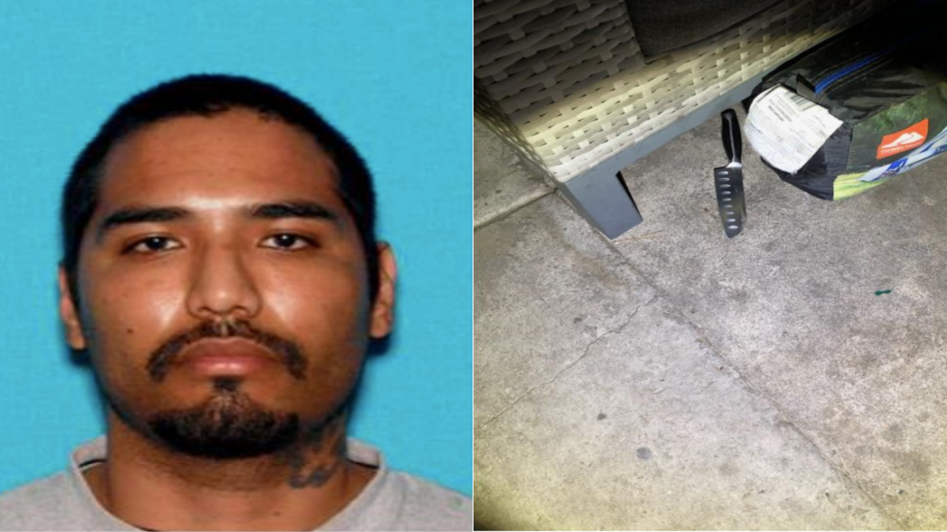 The San Bernardino Police Department released these photos of Nicolas Segura and a knife officers said they recovered from the scene at a home in the 2300 block of W. Adams Street in San Bernardino on Nov. 27, 2020.