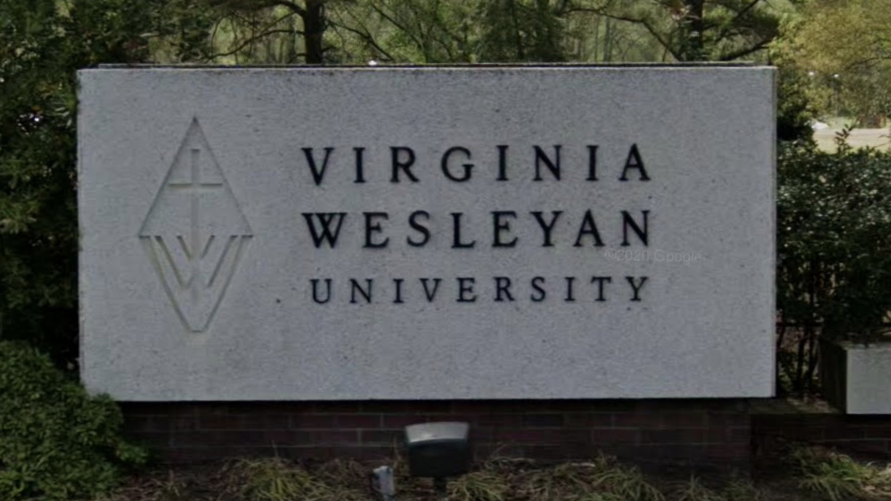 A Virginia Wesleyan University sign is seen in a Google Maps image.