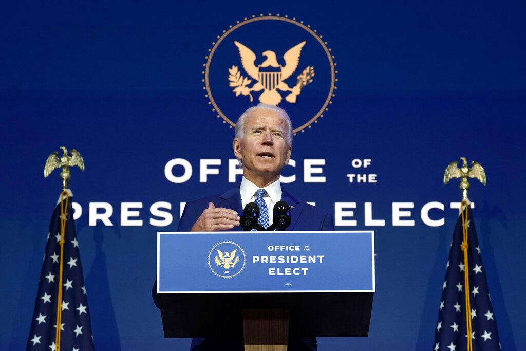 President-elect Joe Biden speaks Monday at The Queen theater in Wilmington, Del. (AP Photo/Carolyn Kaster)