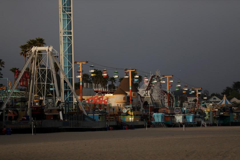 The Santa Cruz Beach Boardwalk appears in a photo taken in May 2020, after coronavirus-related closures took effect.(Gary Coronado / Los Angeles Times)