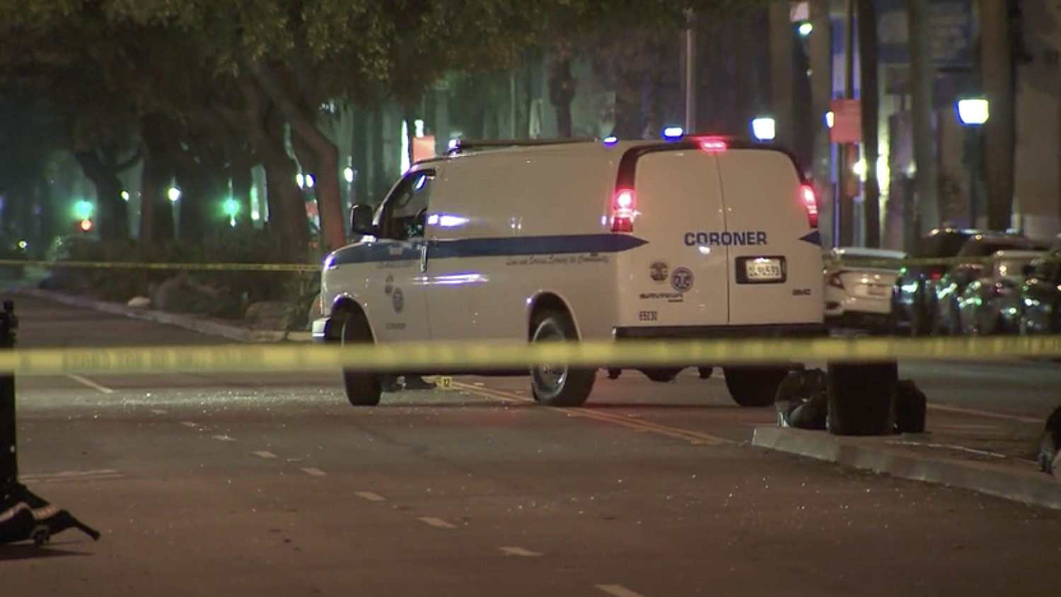 A coroner's van at the scene of a fatal hit-and-run crash that occurred on Nov. 26, 2020. (KTLA)