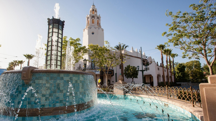 Carthay Circle Lounge is seen just beyond a fountain in Disney California Adventure theme park. (Disneyland Resort)