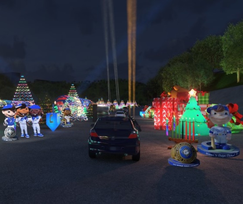 The Dodgers shared a rendering of their drive-through Holiday Festival on Nov. 17, 2020.