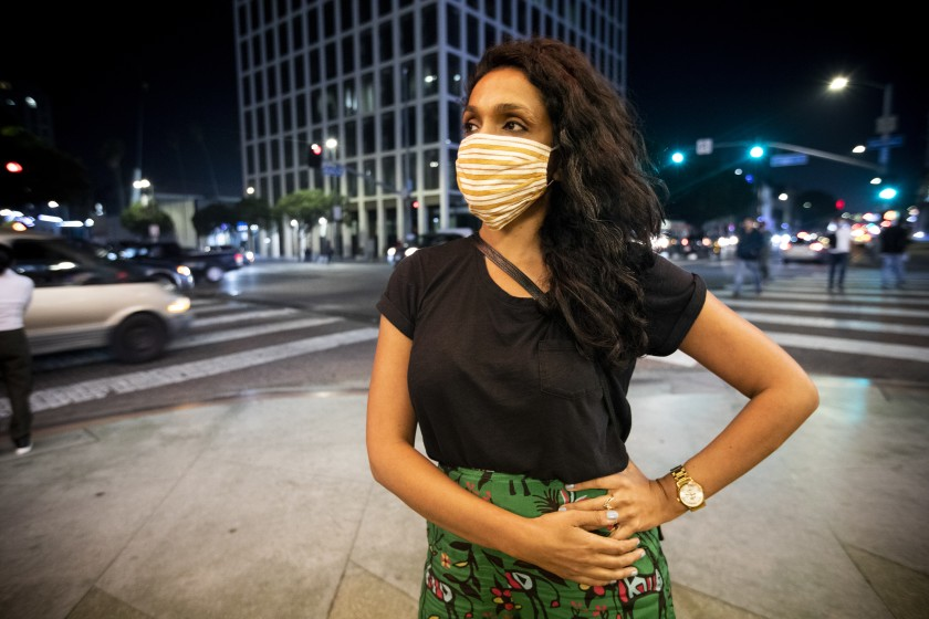 L.A. City Council candidate Nithya Raman in Los Angeles on election night, Nov. 3, 2020. (Francine Orr/Los Angeles Times)