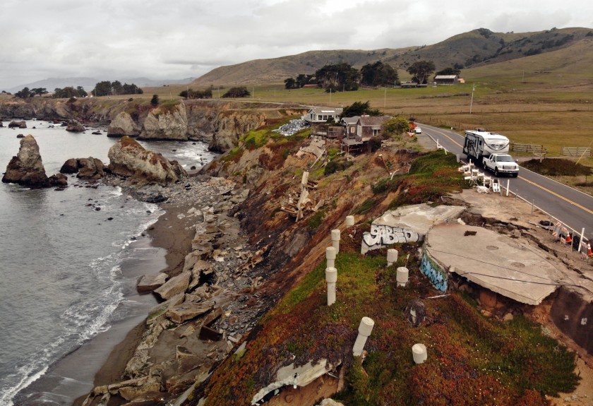 At Gleason Beach, remnants of homes and piles of broken seawalls clutter the coastline.(Carolyn Cole / Los Angeles Times)