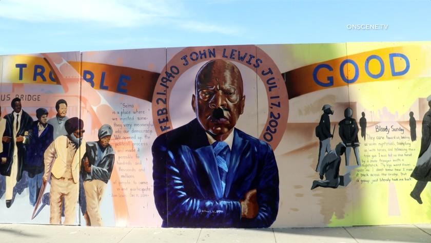Black Lives Matter murals in Riverside were sprayed with black paint on Nov. 2, 2020. (OnScene.tv)