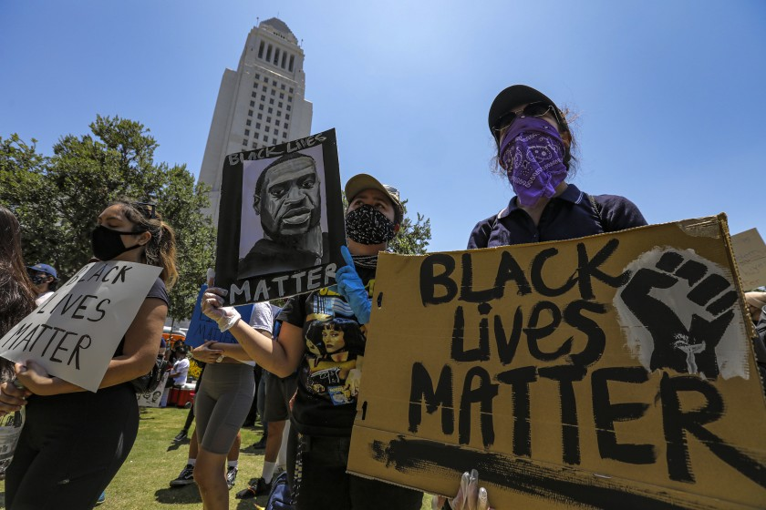 Protests over police brutality and the police killing of George Floyd took place for weeks across Los Angeles in the summer of 2020. (Irfan Khan / Los Angeles Times)