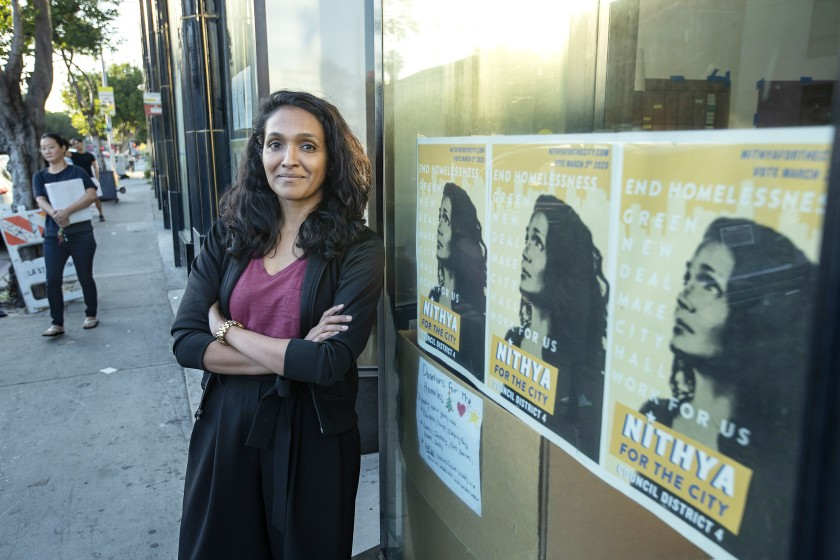 Nithya Raman, shown earlier this year, appears close to unseating incumbent David Ryu on the Los Angeles City Council.(Los Angeles Times)