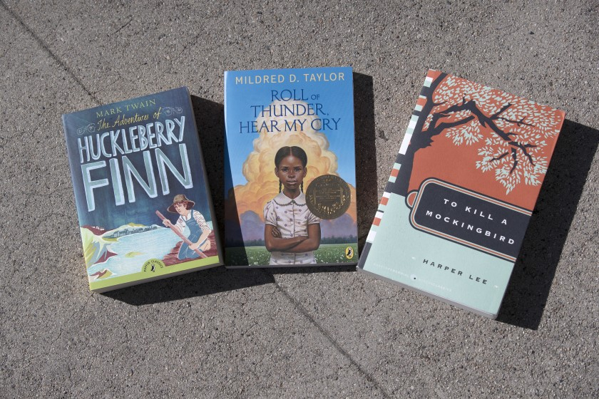 "The Burbank Unified School District has removed five books from instruction: ""The Adventures of Huckleberry Finn,"" ""Roll of Thunder, Hear My Cry,"" ""To Kill a Mockingbird,"" ""The Cay"" and ""Of Mice and Men.""(Allen J. Schaben / Los Angeles Times)"