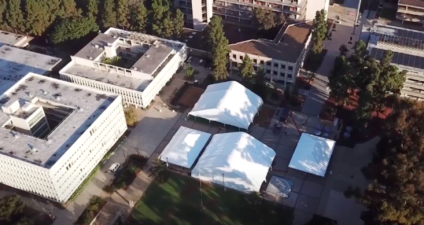 UC San Diego has built four tent structures for classes and studying. (UC San Diego via L.A. Times)