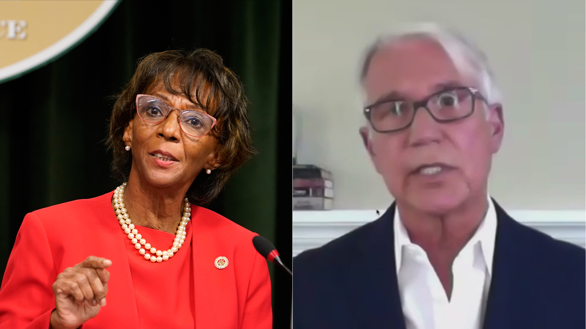 Jackie Lacey concedes in the Los Angeles County District Attorney's Office race, while George Gascón declares victory in a virtual news conference on Nov. 6, 2020. (Damian Dovarganes/Associated Press, KTLA)