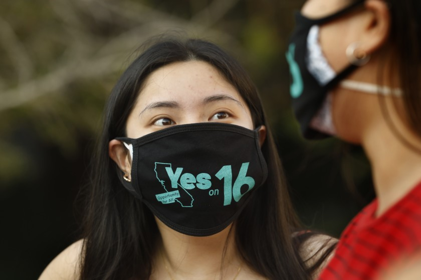 Amy Ho, a UCLA student, supports Proposition 16 on the November 2020 ballot, which would repeal the statewide ban on affirmative action. (Carolyn Cole / Los Angeles Times)
