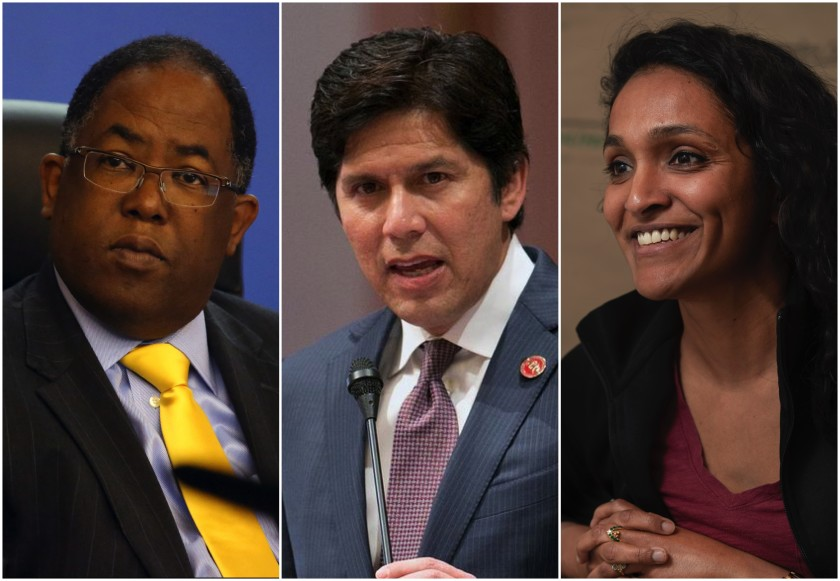 Mark Ridley-Thomas, Kevin de León and Nithya Raman appear in undated photos. (Los Angeles Times)