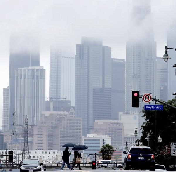 Downtown Los Angeles can be seen from Boyle Heights on a rainy day in this undated photo.(Luis Sinco / Los Angeles Times)